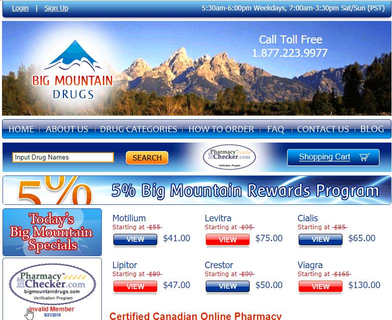 Big Mountain Drugs - A Popular Canadian Pharmacy with Nice Reviews