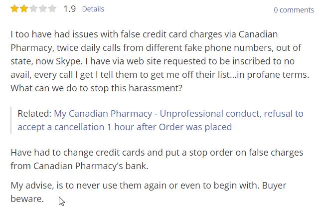 Canadian Pharmacy User testimonial (source: https://my-canadian-pharmacy