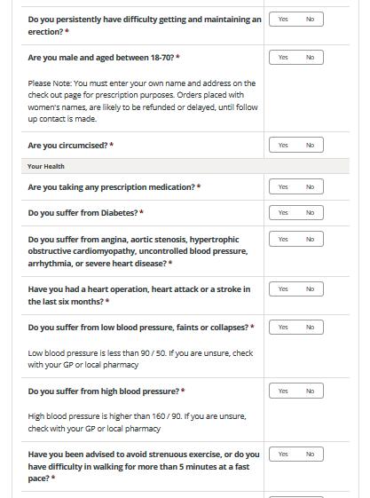Online Prescription Questionnaire